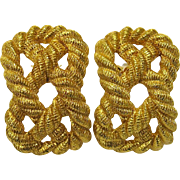 Vintage Carlisle Gold Rope Clip Earrings