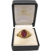 Man's Mid Century 10K Gold & Synthetic Ruby Ring Size 10