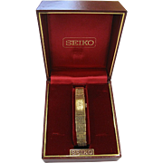 Vintage Modernist Seiko Goldtone Watch in Original Box