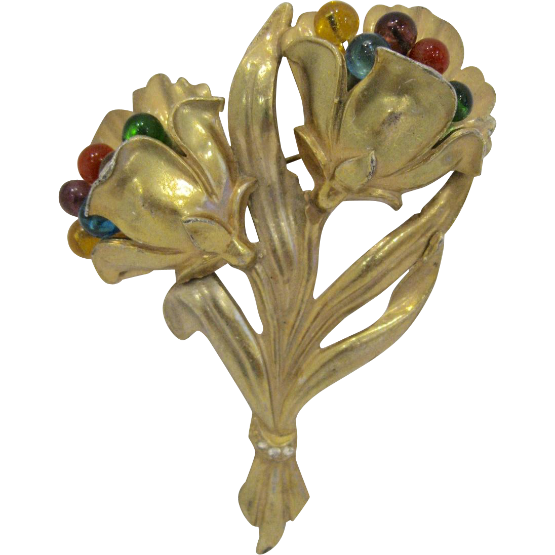 Antique Art Nouveau Double Flower Brooch with Glass Beads