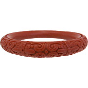 Deeply Carved Red Cinnabar Bangle Bracelet
