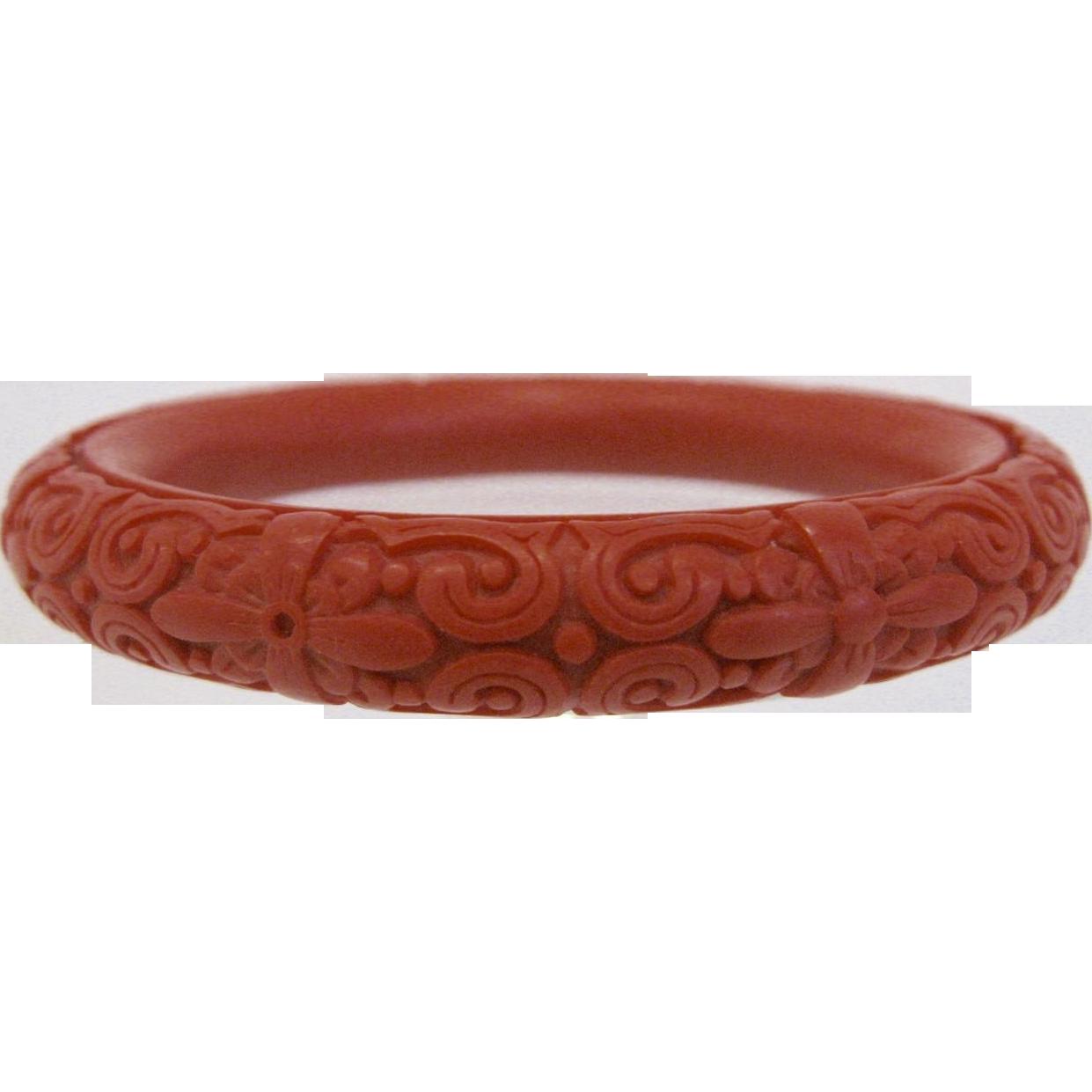 Deeply Carved Red Cinnabar Bangle Bracelet