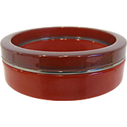 Red on Red 3 Stripe Laminated Bangle Bracelet