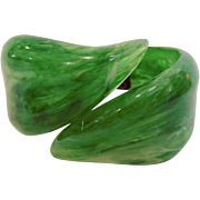 Vintage Wide Lucite Green Leaves Hinged Clamper Bracelet