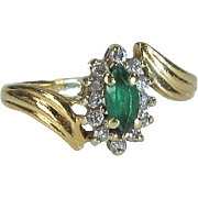Vintage 14K Yellow Gold Emerald and Diamond Ring