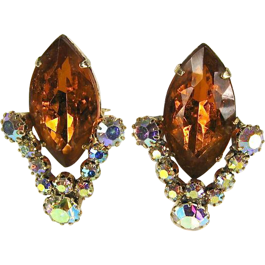 Dazzling Vintage Orange and Clear Rhinestone Earrings