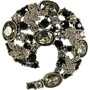 Elegant Smoke, Clear, Jet & Marcasite Crescent Brooch Necklace
