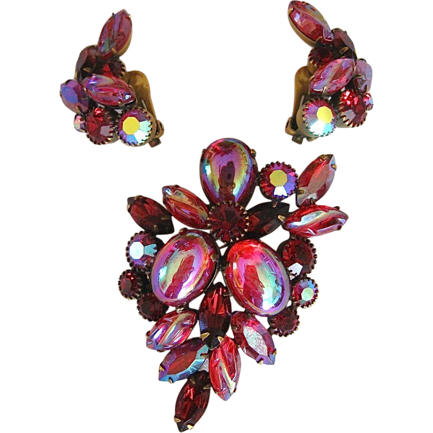 Kramer Red & Iridescent Rhinestone Earrings & Brooch