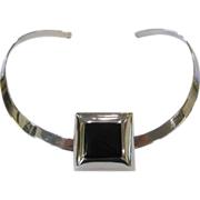 Sterling Silver Choker Necklace with Sterling & Jet Slide