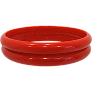 Pair Red Bakelite Bangle Bracelet Spacers