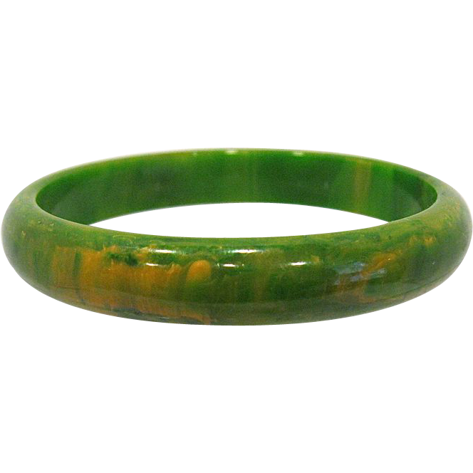 Green with Yellow Marbled Bakelite Bangle Bracelet