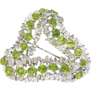Silver and Green Rhinestone Triangle Ribbon Brooch