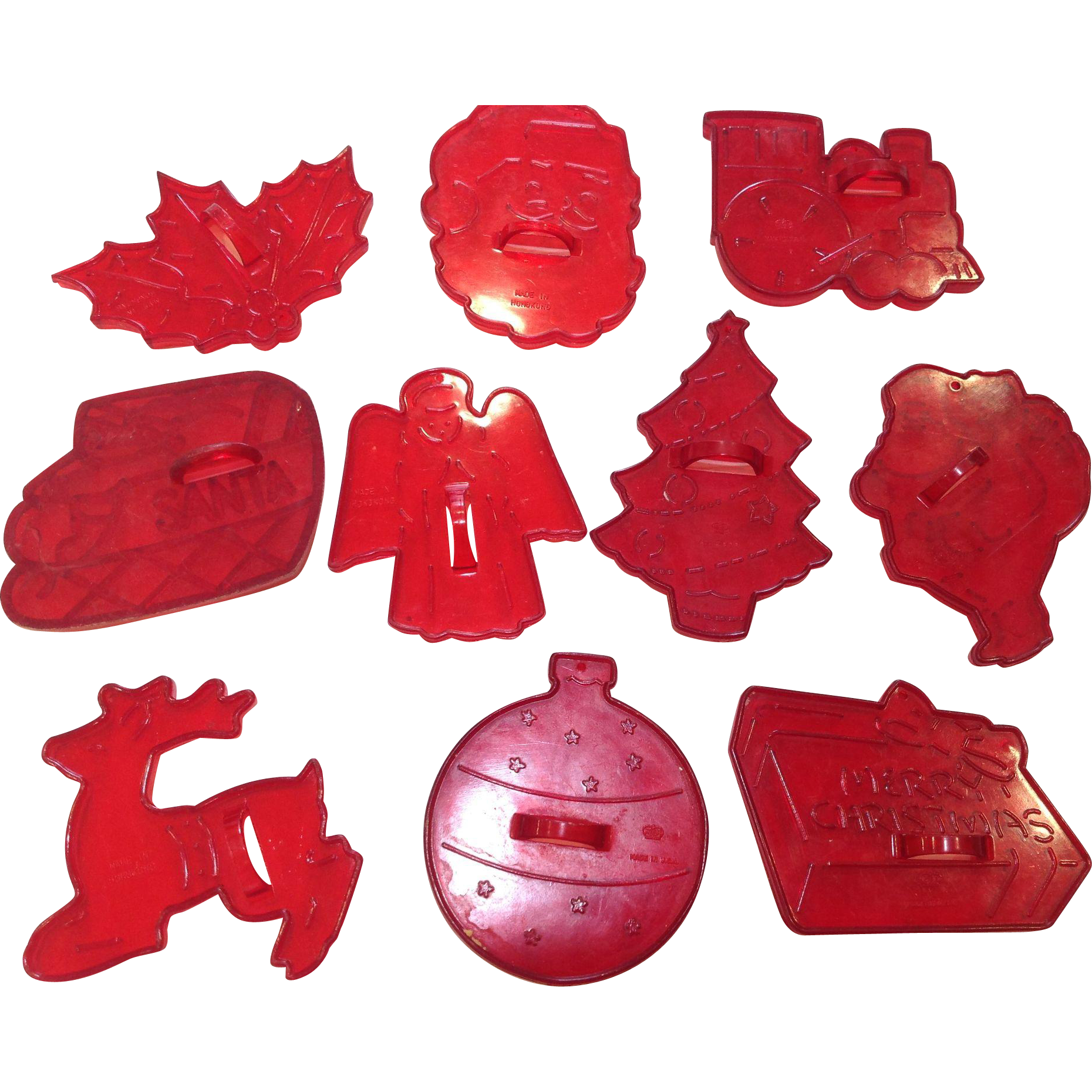Set of 10 Vintage Red Plastic Christmas Cookie Cutters