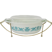 1950s Pyrex Bluebird Oval Casserole in Holder