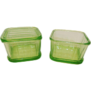 Green Depression Glass Refrigerator Dishes