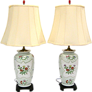 Pair Fine Hand Painted Porcelain Lamps