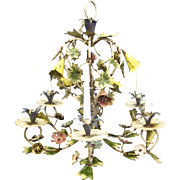 Vintage Shabby Italian Tole Flowers Chandelier