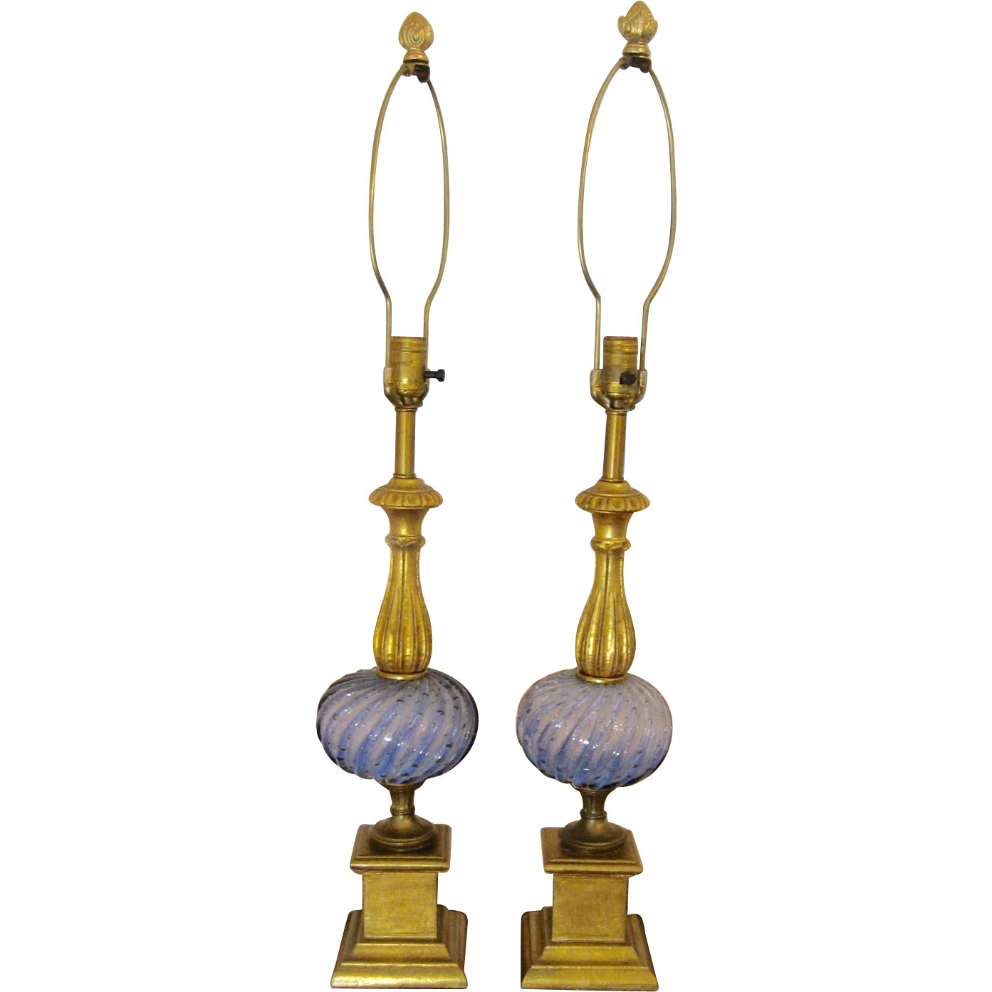 Pair Gorgeous Tall Vintage Gilt and Murano Glass Lamps