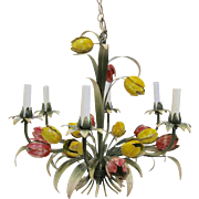 Italian Tole Chandelier with Tulips