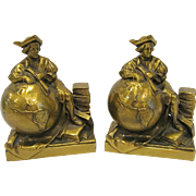 Vintage Christopher Columbus World Globe Bookends