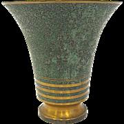 1920s Carl Sorensen Bronze Verdigris Footed Vase