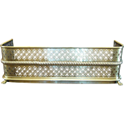 Antique Pierced Brass Fireplace Fender, Paw Feet, Rope Detail