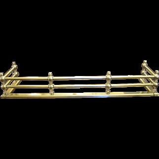 "Antique 42"" Brass Rail Fireplace Fender"