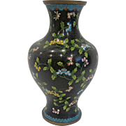 "Black and Floral 10"" Cloisonné Vase"