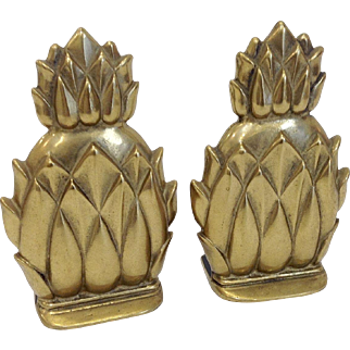 Virginia Metalcrafters Solid Brass Newport Pineapple Bookends