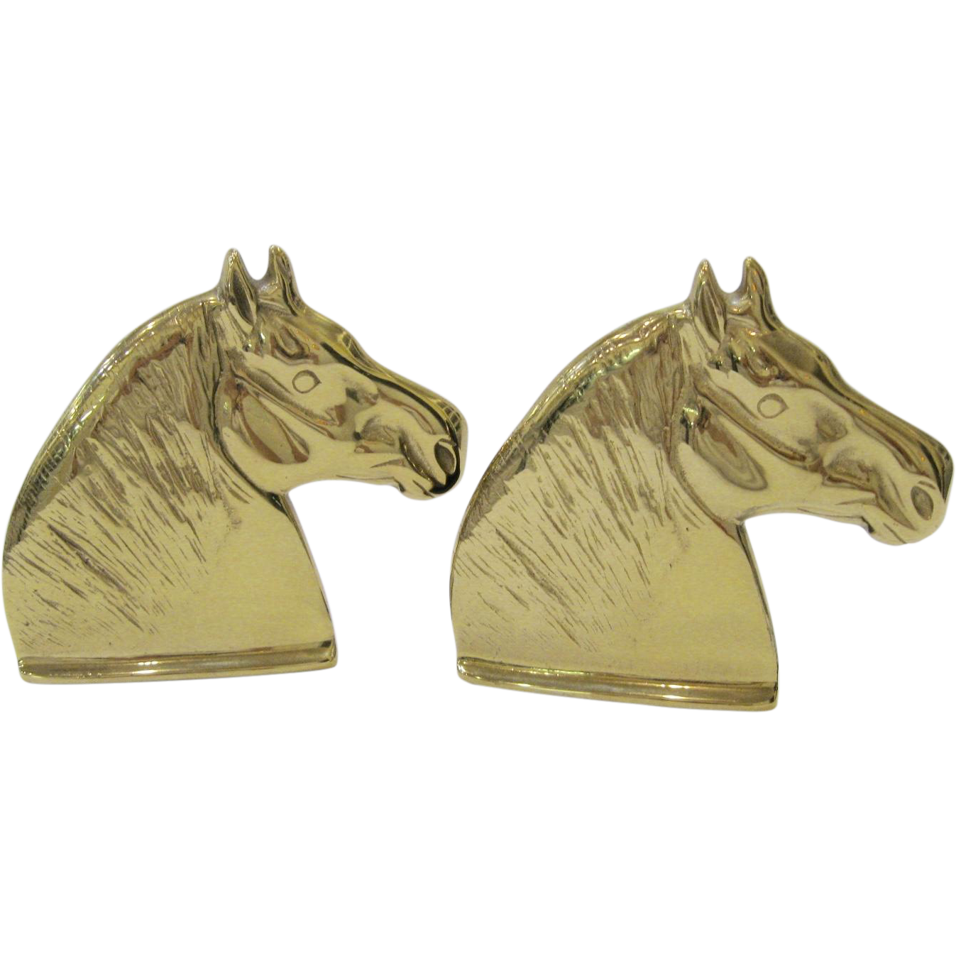Pair Virginia Metalcrafters Brass Percheron Horse Bookends