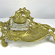 Virginia Metalcrafters Rococo Brass Inkwell with Glass Insert