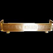 Brass Fireplace Fender, Pierced Foliate Design, Paw Feet