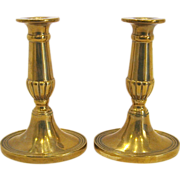 Pair of English Georgian Brass Candlesticks