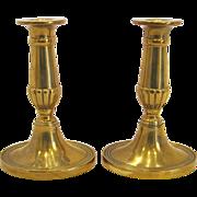 Pair of English Georgian Brass Candlesticks