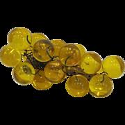 Mid Century Modern Yellow Acrylic Grapes