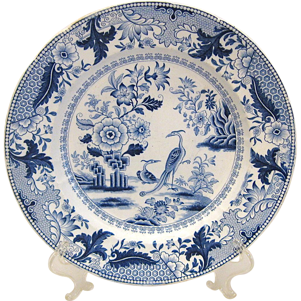 Early 1800s Blue and White Staffordshire Plate Asian Pheasants