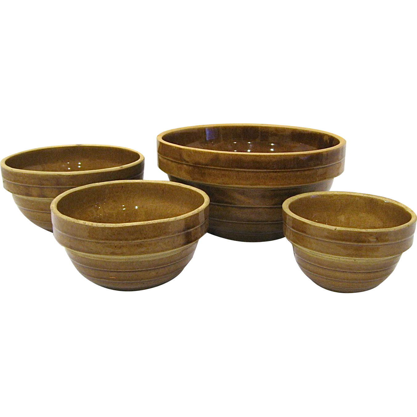Graduated Set of 4 Monmouth Western Stoneware Mixing Bowls