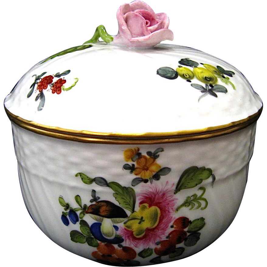 Herend Fruit and Flowers Sugar Bowl with Lid