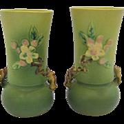 Pair of Roseville Pottery Apple Blossom Vases