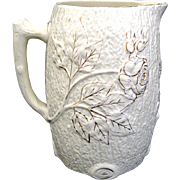 Antique White Majolica Tree Bark Pitcher