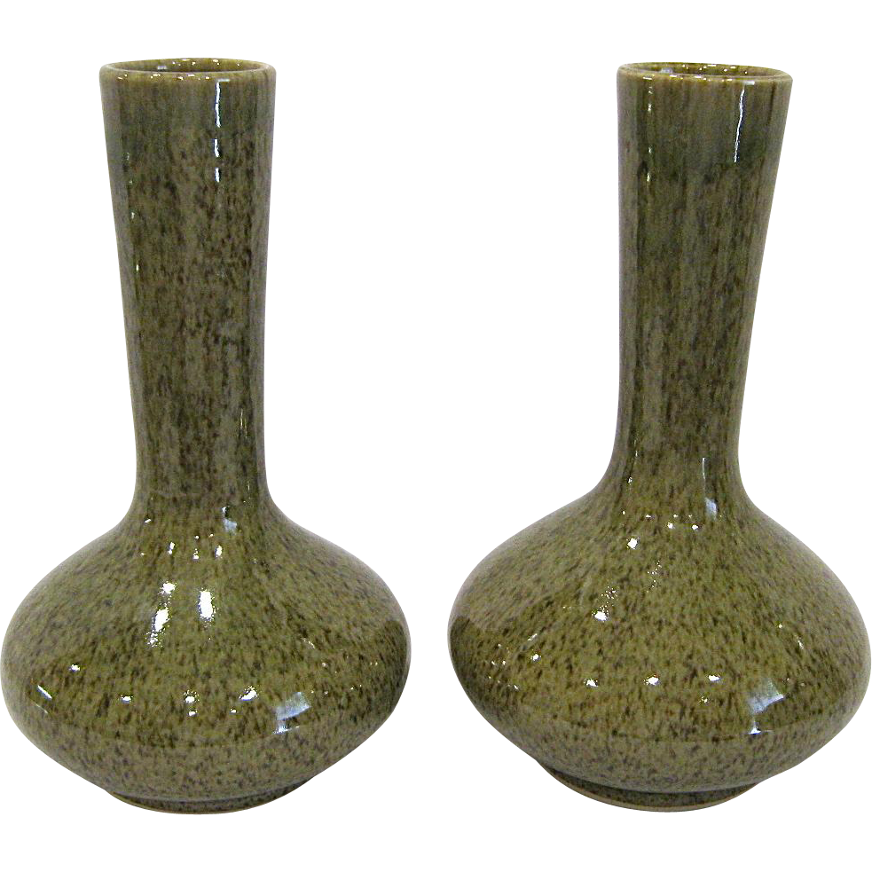 "Pair Maitland Smith 12"" Pottery Vases"