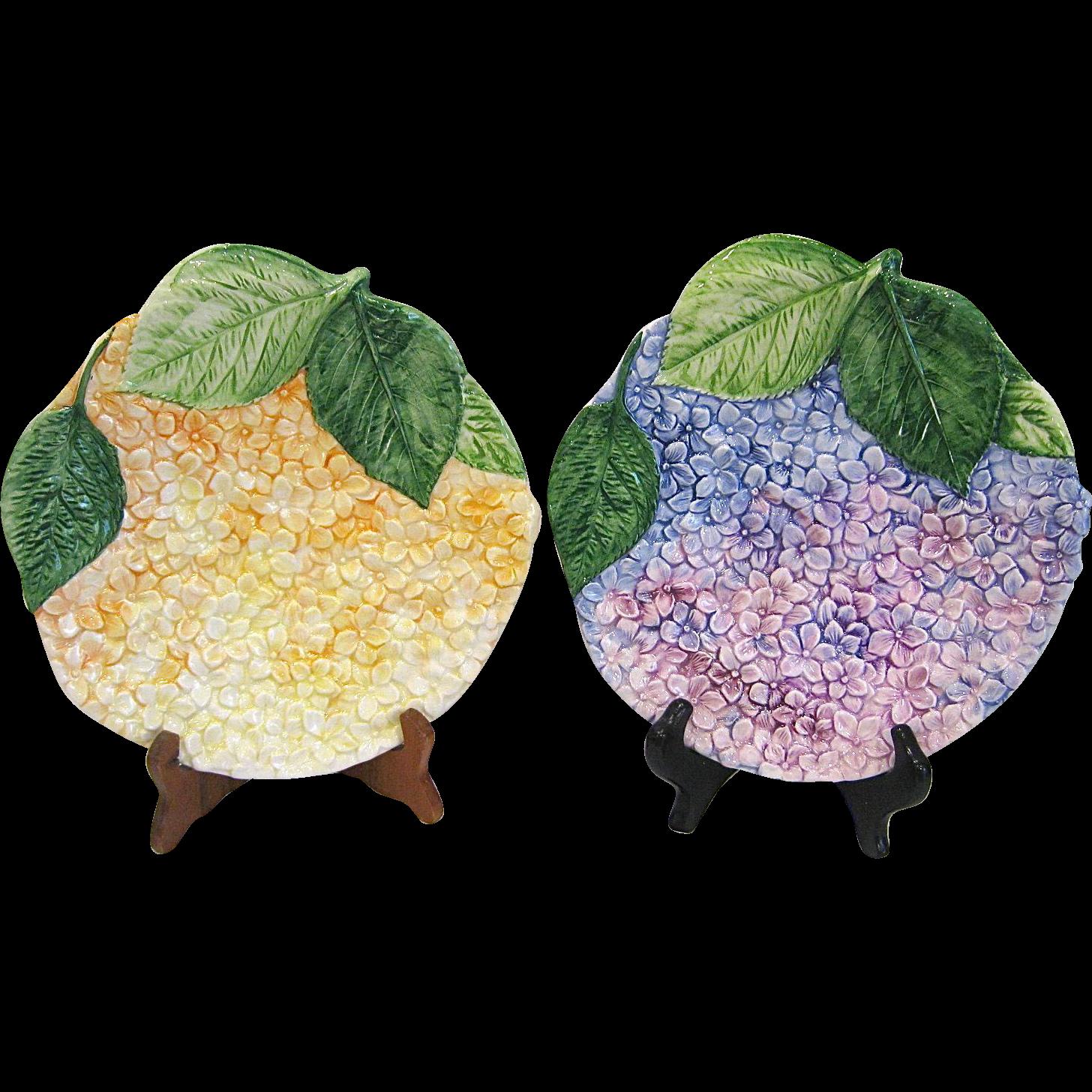 Pair Isabelle de Borchgrave Flower Plates