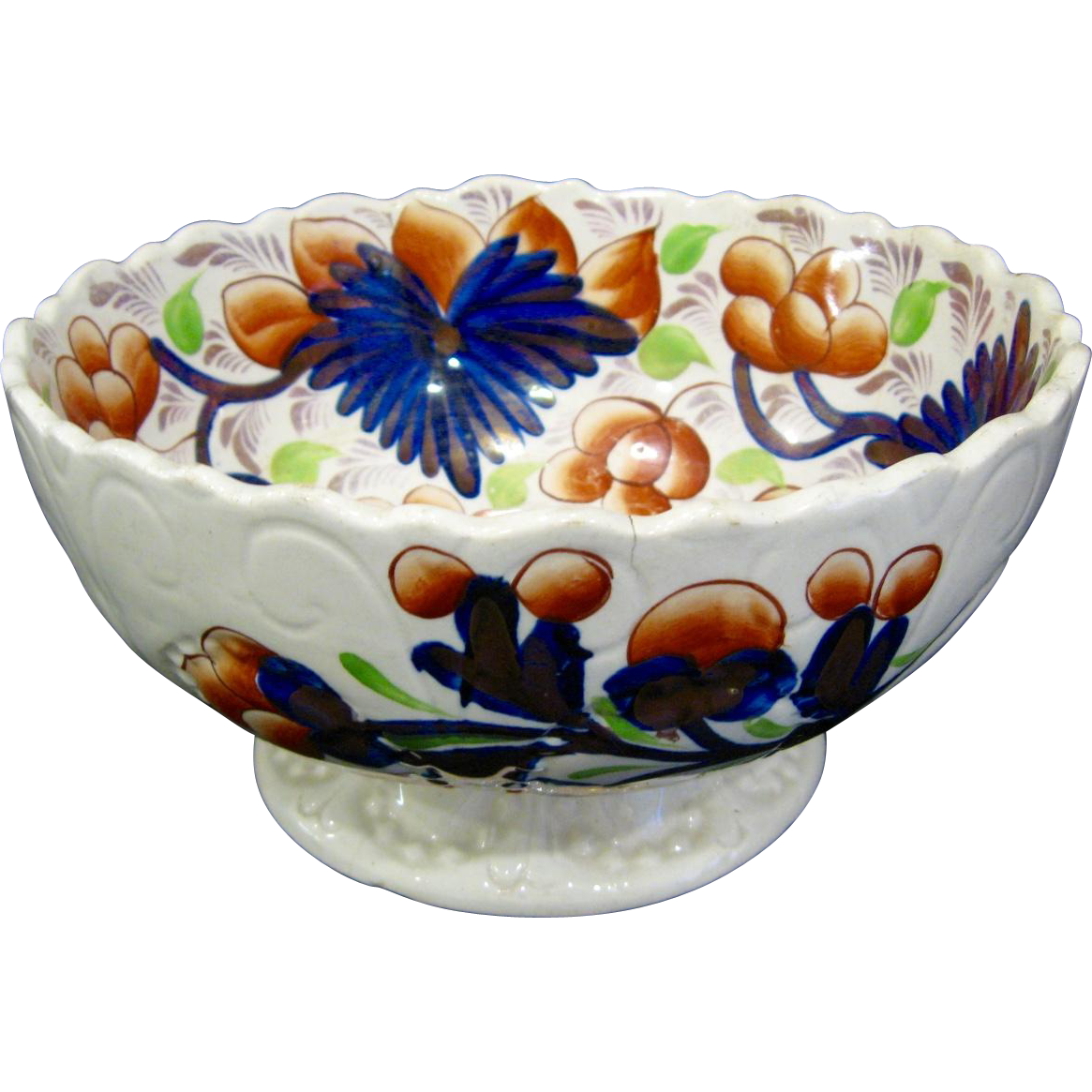 Antique Gaudy Welsh Footed Bowl, Grapes Pattern
