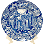 c.1820 Antique Stevenson Blue and White Transferware Plate, Netley Abbey