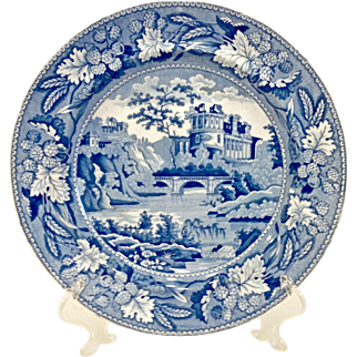 c. 1820 Antique Staffordshire Blue & White Transferware Pearlware Plate