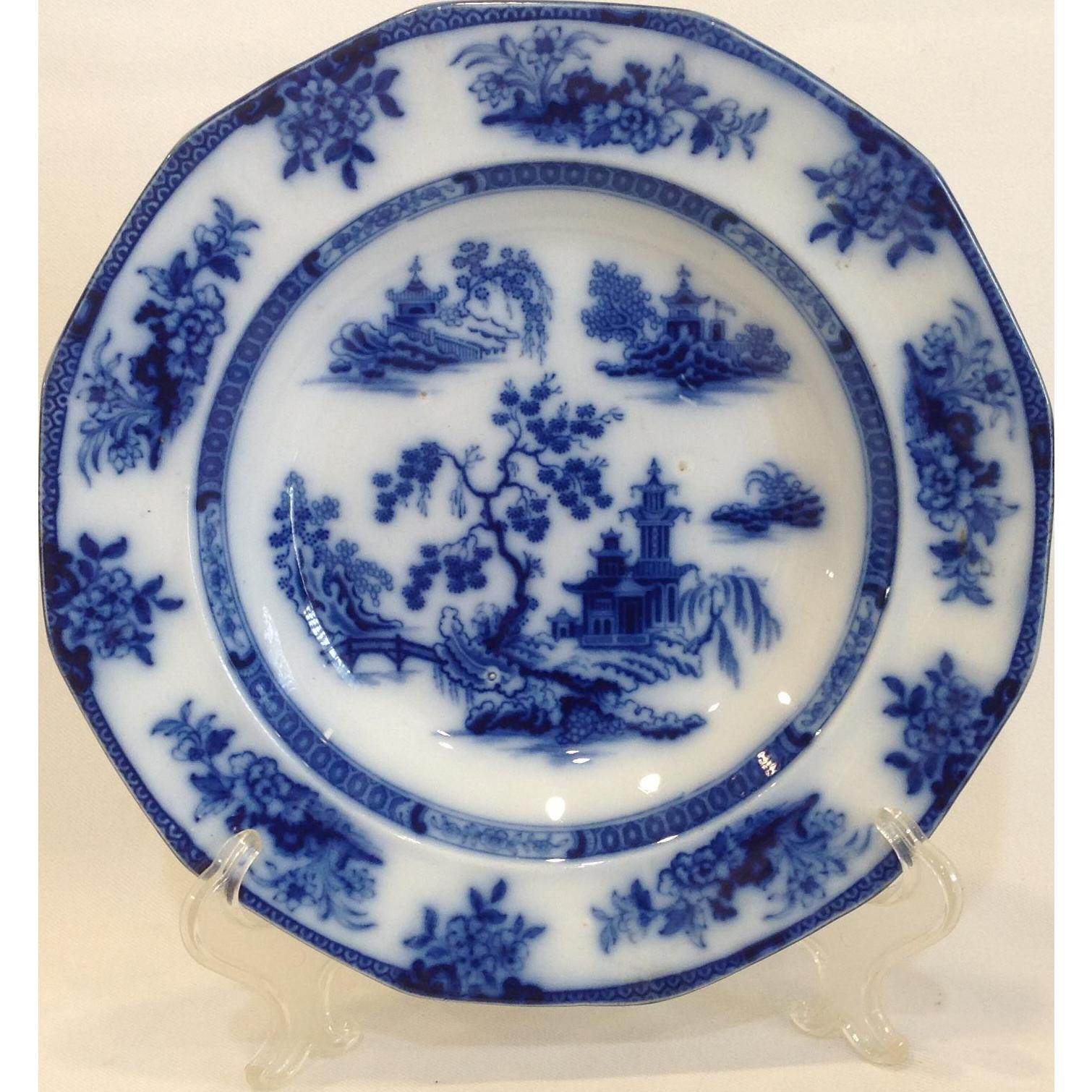 J Wedgwood Chapoo Flow Blue Rimmed Soup Plate c 1841-1860