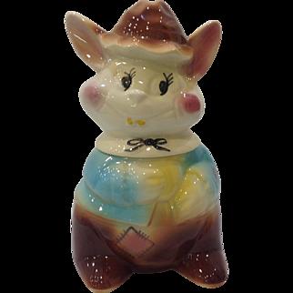 Vintage American Bisque Goofy Rabbit Cookie Jar