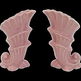 Pair Shawnee Pottery Tall Triple Cornucopia Vases