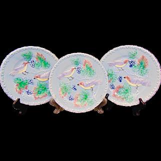 Set of 3 Majolica Bird Plates