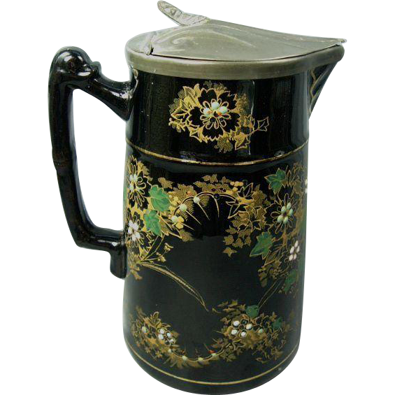 Early 1800's Enameled English Jackfield Pitcher with Lid